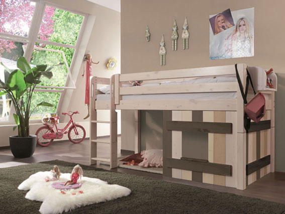 halbhochbett mit holzdekorelement merlin ina schillers bettenland. Black Bedroom Furniture Sets. Home Design Ideas